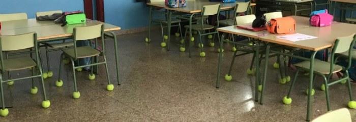 Las pelotas usadas de los cursos municipales de tenis, se reciclan para un uso totalmente diferente